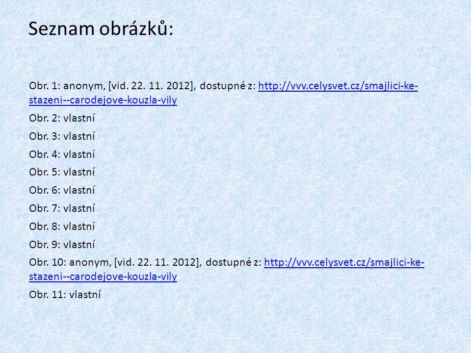Seznam obrázků: Obr. 1: anonym, [vid. 22. 11. 2012], dostupné z: http://vvv.celysvet.cz/smajlici-ke- stazeni--carodejove-kouzla-vily.